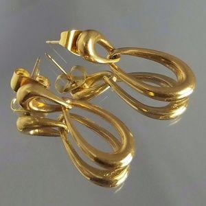 Vintage Monet Gold Tone Dangle Post Earrings